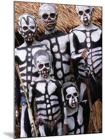 Sing Sing Group Members with Skeleton-Like Body Paint at Mt. Hagen Cultural Show, Papua New Guinea-John Banagan-Mounted Photographic Print