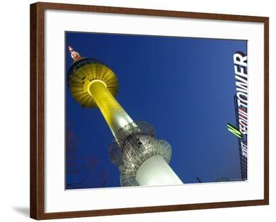 Seoul Tower with Sign at Dusk, Namsan, Seoul, Seoul, South Korea-Anthony Plummer-Framed Photographic Print