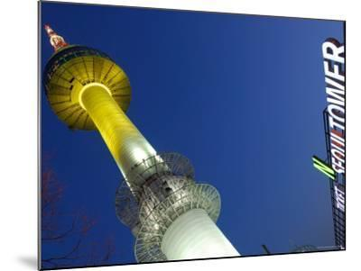 Seoul Tower with Sign at Dusk, Namsan, Seoul, Seoul, South Korea-Anthony Plummer-Mounted Photographic Print