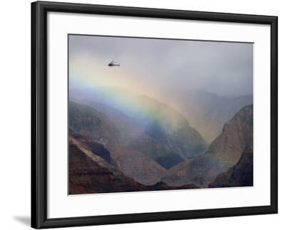 Helicopter and Rainbow at Waimea Canyon, Waimea Canyon State Park, Kauai, Hawaii-Holger Leue-Framed Photographic Print