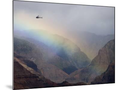 Helicopter and Rainbow at Waimea Canyon, Waimea Canyon State Park, Kauai, Hawaii-Holger Leue-Mounted Photographic Print