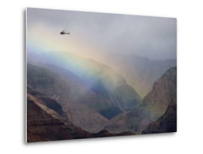 Helicopter and Rainbow at Waimea Canyon, Waimea Canyon State Park, Kauai, Hawaii-Holger Leue-Metal Print
