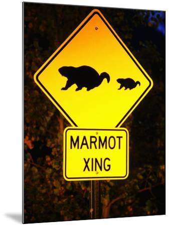 Marmot Crossing Sign Near Maroon Bells, Aspen, Colorado-Holger Leue-Mounted Photographic Print