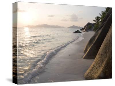 Coastline at Sunset, La Digue Island-Holger Leue-Stretched Canvas Print