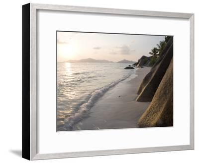 Coastline at Sunset, La Digue Island-Holger Leue-Framed Premium Photographic Print