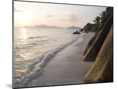Coastline at Sunset, La Digue Island-Holger Leue-Mounted Premium Photographic Print
