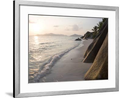Coastline at Sunset, La Digue Island-Holger Leue-Framed Photographic Print