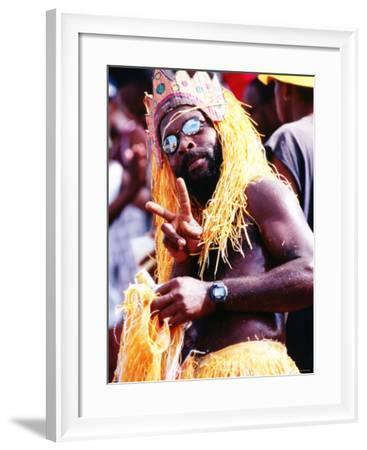 Man in Orange Costume, Crop-Over Festival, Bridgetown-Holger Leue-Framed Photographic Print
