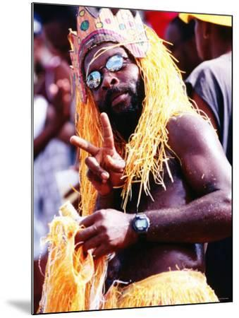 Man in Orange Costume, Crop-Over Festival, Bridgetown-Holger Leue-Mounted Photographic Print