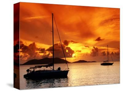 Moored Yachts at Sunset, Tortola, Virgin Islands-John Elk III-Stretched Canvas Print