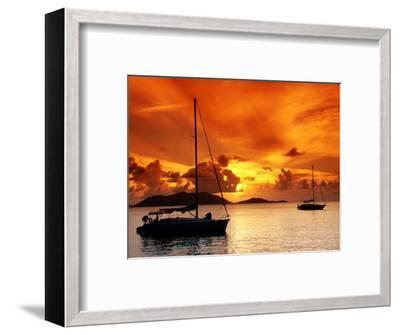 Moored Yachts at Sunset, Tortola, Virgin Islands-John Elk III-Framed Photographic Print
