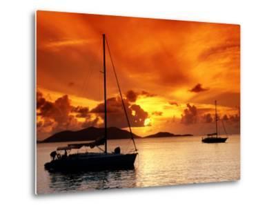 Moored Yachts at Sunset, Tortola, Virgin Islands-John Elk III-Metal Print