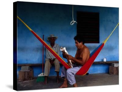 Locals Resting on the Porch in Chichicapa, Tabasco, Mexico-Jeffrey Becom-Stretched Canvas Print