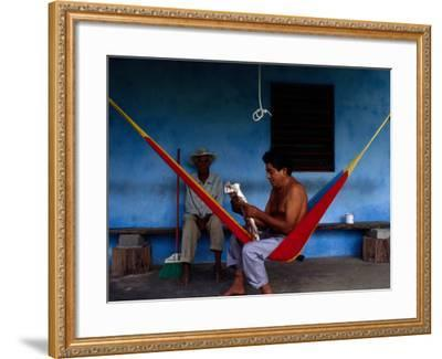 Locals Resting on the Porch in Chichicapa, Tabasco, Mexico-Jeffrey Becom-Framed Photographic Print