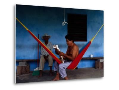 Locals Resting on the Porch in Chichicapa, Tabasco, Mexico-Jeffrey Becom-Metal Print