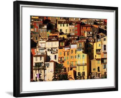 Colourful Houses Clustered on Hillside, Menton, Provence-Alpes-Cote d'Azur, France-David Tomlinson-Framed Photographic Print