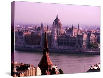 Parliament from Castle District, Budapest, Pest, Hungary-Roberto Gerometta-Stretched Canvas Print