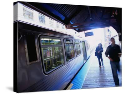 Riding the Brown Line el in the Loop, Chicago, Illinois-Ray Laskowitz-Stretched Canvas Print