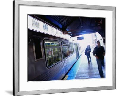 Riding the Brown Line el in the Loop, Chicago, Illinois-Ray Laskowitz-Framed Photographic Print
