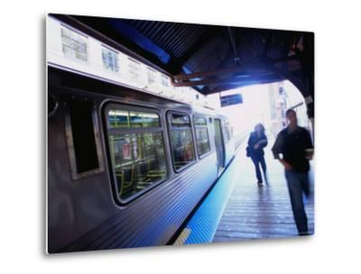 Riding the Brown Line el in the Loop, Chicago, Illinois-Ray Laskowitz-Metal Print