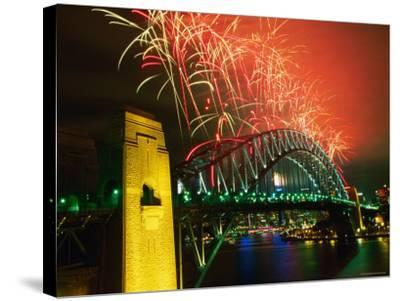 Fireworks over Sydney Harbour Bridge, New Year's Eve, Sydney, New South Wales, Australia-Oliver Strewe-Stretched Canvas Print
