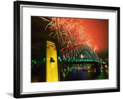 Fireworks over Sydney Harbour Bridge, New Year's Eve, Sydney, New South Wales, Australia-Oliver Strewe-Framed Photographic Print