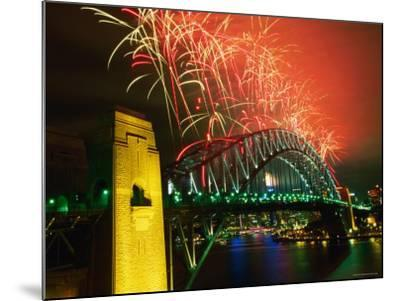 Fireworks over Sydney Harbour Bridge, New Year's Eve, Sydney, New South Wales, Australia-Oliver Strewe-Mounted Photographic Print