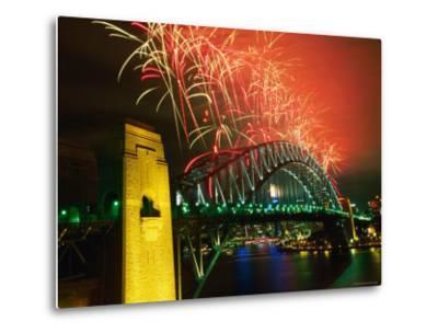 Fireworks over Sydney Harbour Bridge, New Year's Eve, Sydney, New South Wales, Australia-Oliver Strewe-Metal Print