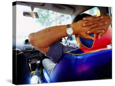 Taxi Driver Relaxing in His Taxi, Kerbside, Bangkok, Thailand-Ray Laskowitz-Stretched Canvas Print