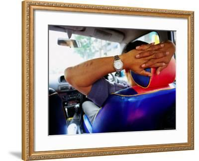 Taxi Driver Relaxing in His Taxi, Kerbside, Bangkok, Thailand-Ray Laskowitz-Framed Photographic Print