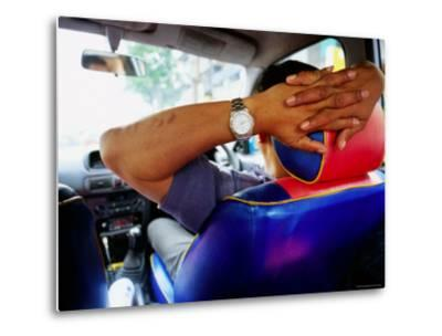 Taxi Driver Relaxing in His Taxi, Kerbside, Bangkok, Thailand-Ray Laskowitz-Metal Print