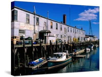 Old Port Exchange Area, Fishing Docks, Portland, Maine-John Elk III-Stretched Canvas Print