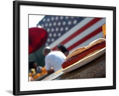 Hot Dogs at Nathan's, Coney Island, New York City, New York-Dan Herrick-Framed Photographic Print