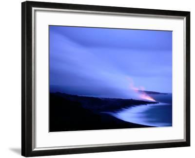 Lava Flow at Dusk, Volcanoes National Park, Hawaii, Hawaii-Holger Leue-Framed Photographic Print
