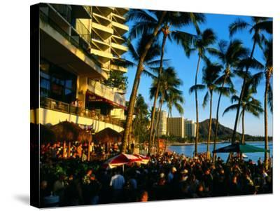 Pub at Waikiki Beach, Oahu, Hawaii-Holger Leue-Stretched Canvas Print