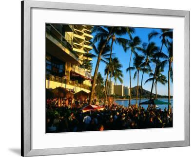 Pub at Waikiki Beach, Oahu, Hawaii-Holger Leue-Framed Photographic Print