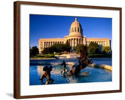 Fountain in Front of Missouri State Capitol Building, Jefferson City, Missouri-John Elk III-Framed Photographic Print