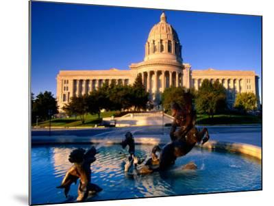 Fountain in Front of Missouri State Capitol Building, Jefferson City, Missouri-John Elk III-Mounted Photographic Print