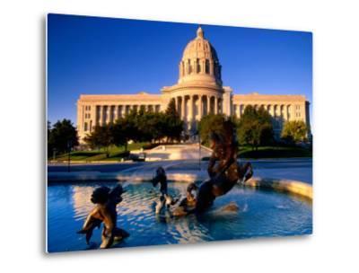 Fountain in Front of Missouri State Capitol Building, Jefferson City, Missouri-John Elk III-Metal Print