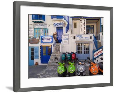 Motorbikes Parked Outside Shops-Diana Mayfield-Framed Photographic Print