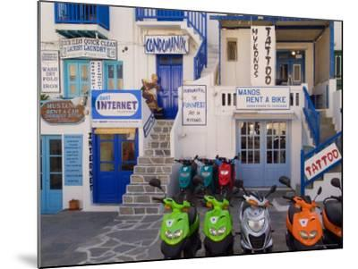 Motorbikes Parked Outside Shops-Diana Mayfield-Mounted Photographic Print