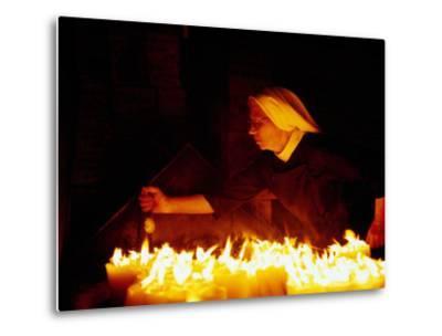 Nun Attending Candles at Stone Gate Shrine, Zagreb, City of Zagreb, Croatia-Richard I'Anson-Metal Print