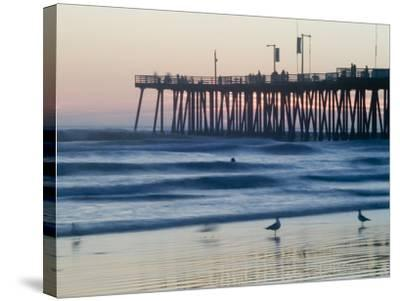 Pier at Sunset, Pismo Beach, California-Brent Winebrenner-Stretched Canvas Print