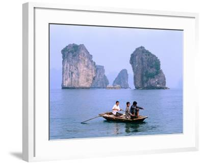 People Fishing in Small Boat with Karsts in Background, Ha Long, Bac Giang, Vietnam-Christopher Groenhout-Framed Photographic Print