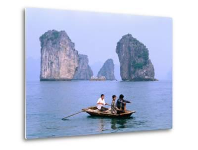 People Fishing in Small Boat with Karsts in Background, Ha Long, Bac Giang, Vietnam-Christopher Groenhout-Metal Print