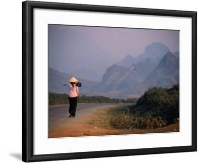 Farmer Makes Her Way to Field in Morning, Shouldering Hoe, Tam Duong, Lao Cai, Vietnam-Stu Smucker-Framed Photographic Print