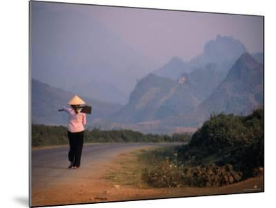 Farmer Makes Her Way to Field in Morning, Shouldering Hoe, Tam Duong, Lao Cai, Vietnam-Stu Smucker-Mounted Photographic Print