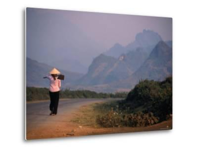 Farmer Makes Her Way to Field in Morning, Shouldering Hoe, Tam Duong, Lao Cai, Vietnam-Stu Smucker-Metal Print