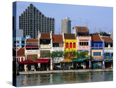 Former Chinese Shophouses, Now Restaurants, along Singapore River Boat Quay, Singapore-John Elk III-Stretched Canvas Print