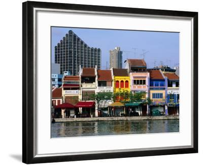 Former Chinese Shophouses, Now Restaurants, along Singapore River Boat Quay, Singapore-John Elk III-Framed Photographic Print